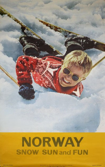 Norway Snow Sun Fun 1963 original poster designed by Photo: Bjørn Pahle