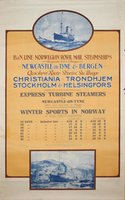 Newcastle-Bergen-Norwegian-Royal-Mail-Steamships-vintage-original-poster