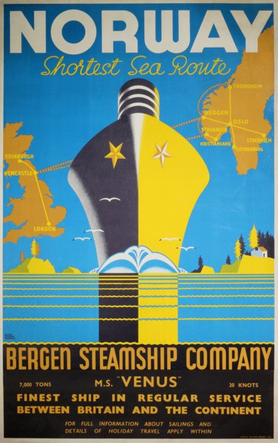 Norway by Bergen Steamship Company poster designed by Harry Hudson Rodmell (1896-1984)