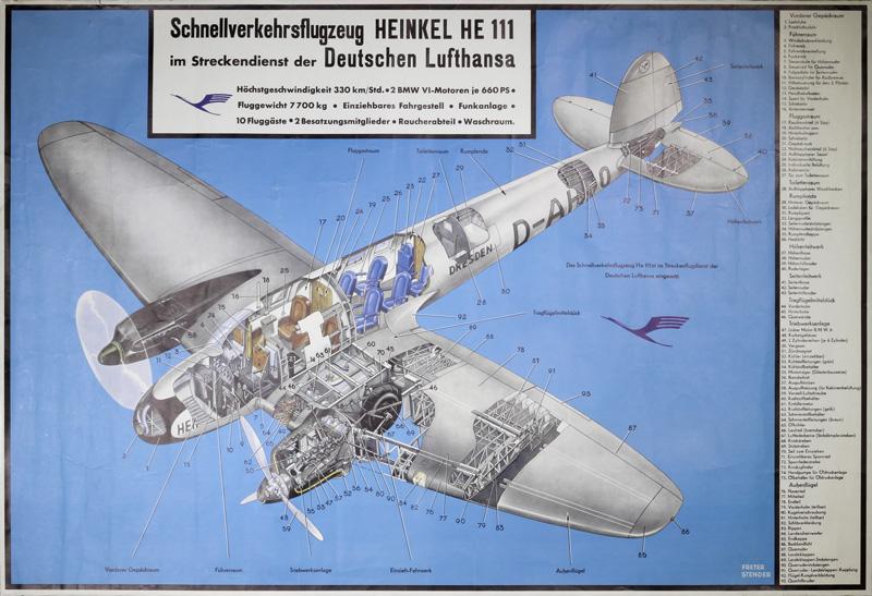 Original Vintage Poster Deutsche Lufthansa Heinkel He 111