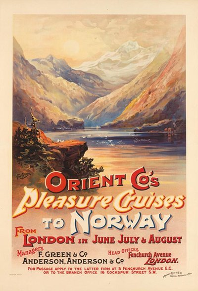 Orient Co's Pleasure Cruises to Norway. Circa 1898. original poster designed by Fred Simpson