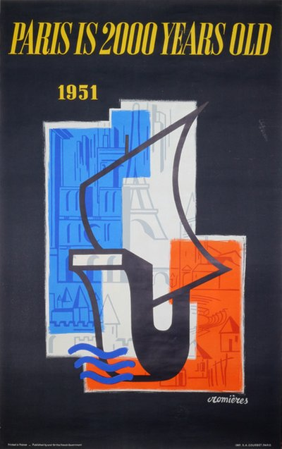 Paris is 2000 Years Old 1951 original poster designed by Cromières, Huguette (1925-)