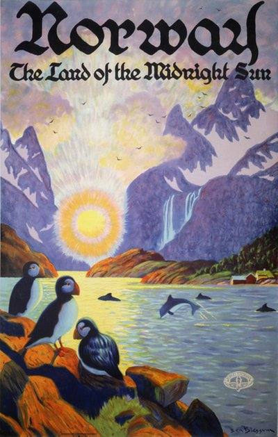 Norway - The Land of the Midnight Sun poster designed by Blessum, Benjamin (Ben) (1877-1954)