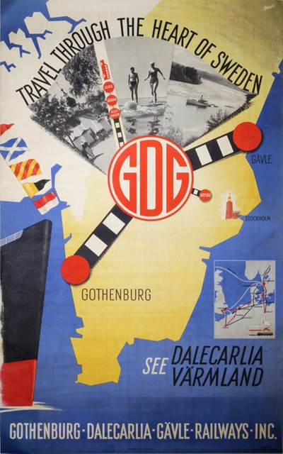 Sweden - GDG Gothenburg Dalecarlia Gavle Railways original poster designed by Brovik