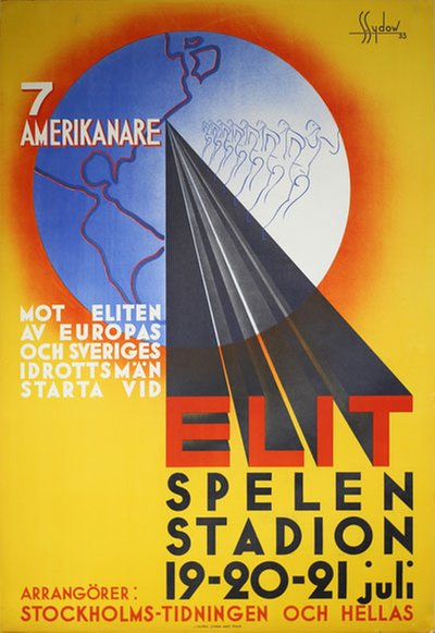 Elitspelen Stockholm Station 1933 original poster designed by S. Sydow