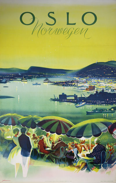 Original Vintage Poster Oslo Norwegen For Sale At