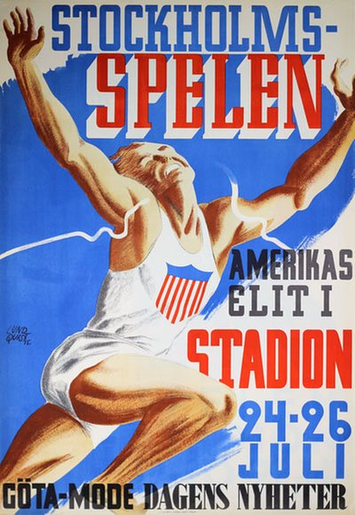 Stockholmsspelen Stockholm Stadion original poster designed by Birger Richard Emanuel Lundquist (1910-1952)
