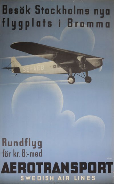 Aerotransport - Bromma Stockholm Airport poster designed by Beckman, Anders (1907-1967)