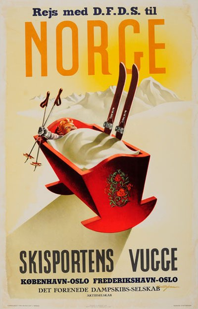 Norge Skisportens Vugge DFDS poster designed by Yran, Knut (1920-1998)