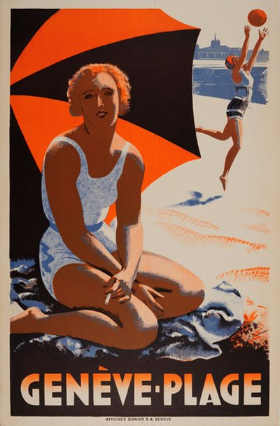Geneve Plage poster designed by Courvoisier, Jules (1884 -1936)
