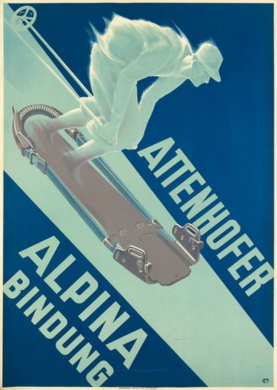 Attenhofer Alpina Bindung poster designed by Moos, Carl Franz (1878-1959)