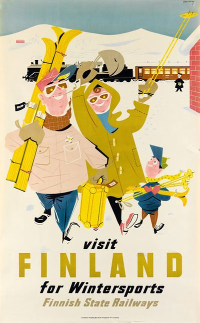 Visit Finland For Wintersports original poster designed by Christianson, Rolf (1928-1997)