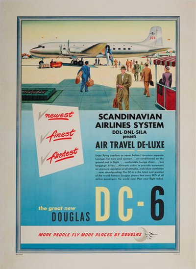 Douglas DC-6 Newest Finest Fastest original poster designed by Dorland