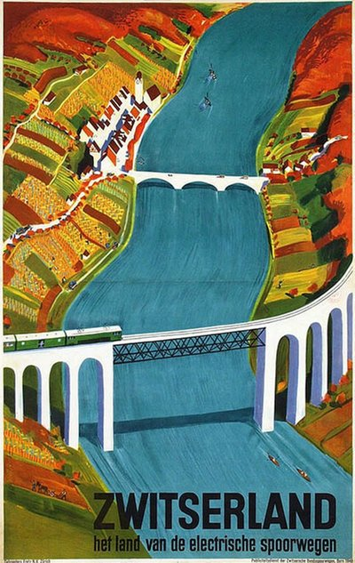 Zwitserland - Switzerland Eglisau bridge poster designed by Baumberger, Otto (1889-1960)