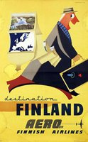 Finland Aero Finnish Airlines vintage poster