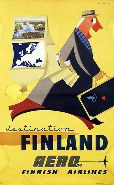 Finland Aero Finnish Airlines original poster designed by Ahtiala, Heikki (1913-1983)