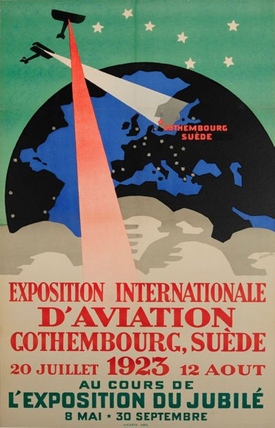 Gothenburg Suede - Exposition Internationale D'Aviation ILUG 1923 original poster designed by Meurling, Carl (1879-1929)