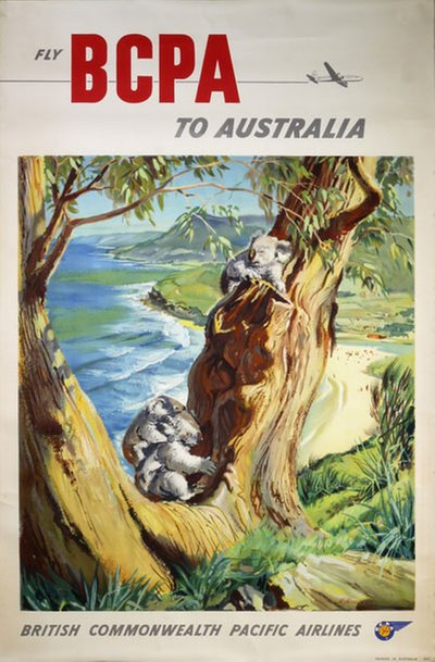 Fly BCPA To Australia original poster designed by K. Howland