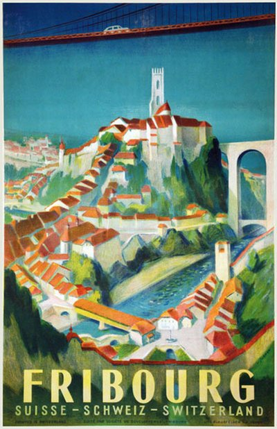 Freiburg Switzerland original poster designed by Jordan, Willi (1902-1971)