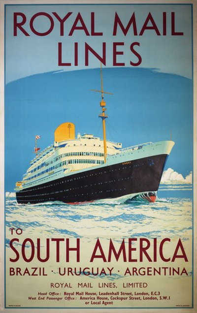 Royal Mail Lines to South America original poster designed by Jarvis, William Howard (1903-1964)