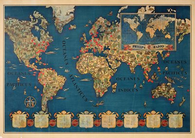 Original Vintage Poster Philips Radio World Map For Sale At - World map for sale