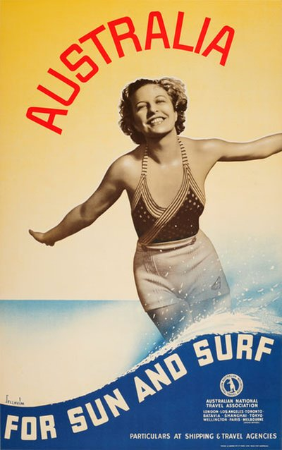 Australia - For Sun And Surf original poster designed by Sellheim, Gert Hugo Emmanuel (1901-1970)