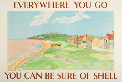 Llanstephan Castle Wales - Shell poster original poster designed by Enslin Hercules Du Plessis  (1894-1978)