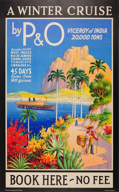 PO Winter Cruise Viceroy of India original poster designed by Greig, James (1870-1941)