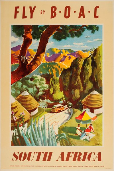 South Africa - BOAC poster designed by Xeria