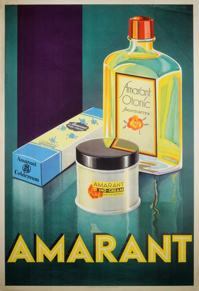 Amarant cosmetics original poster designed by Bauer
