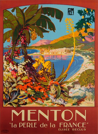 Menton - Pearl of France - French Riviera original poster designed by Richard, James C.