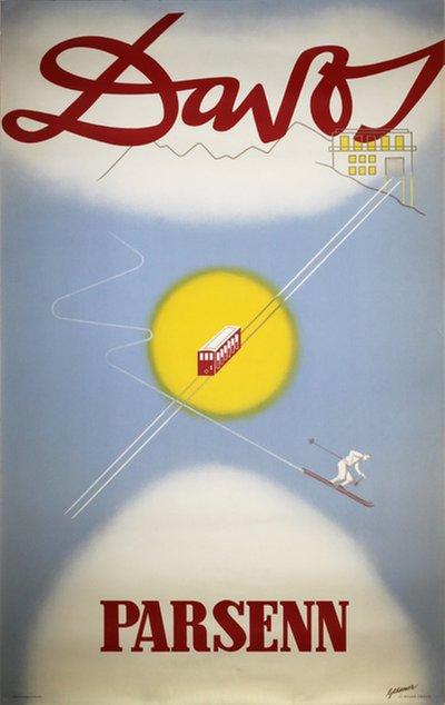 Davos Parsenn Switzerland original poster designed by Gessner, Robert Salomon (1908-1982)