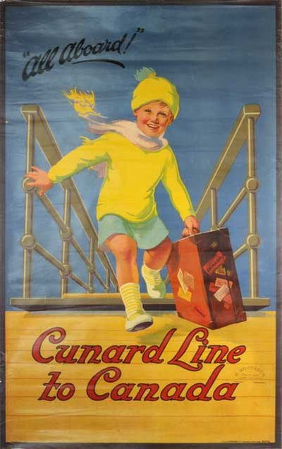 All aboard Cunard Line to Canada poster