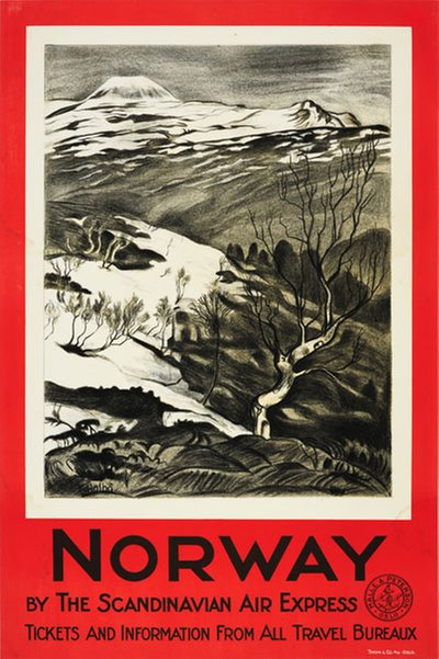 Norway by The Scandinavian Air Express poster designed by Holbø, Kristen (1869-1953)