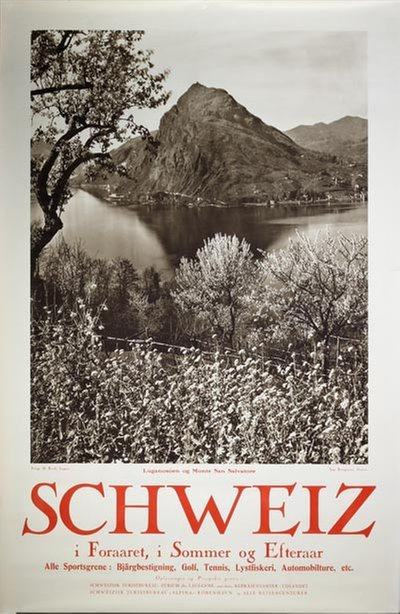 Lake Lugano Monte San Salvatore Switzerland poster designed by Photo: Herbert Rüedi (1901-1950)