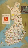 Finlande Suomi poster map 1949