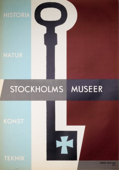 Stockholms Museer original poster designed by Beckman, Anders (1907-1967)