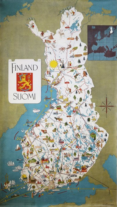 Finland Suomi poster map 1949 original poster