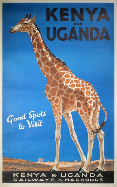 Kenya and Uganda - Railways and Harbours - Giraffe original poster designed by Ed Keeley