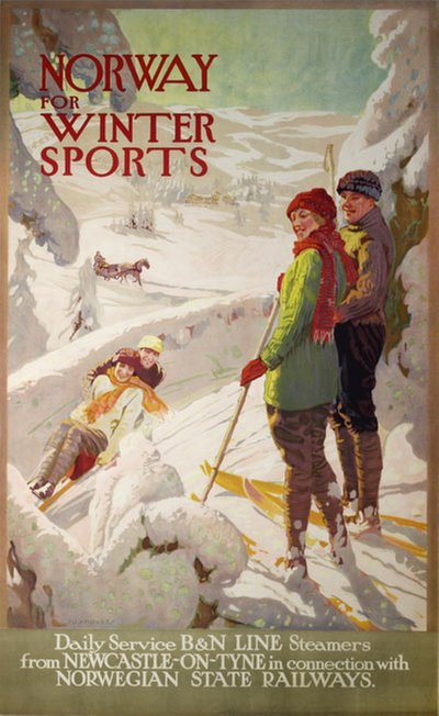 Norway for Winter Sports poster designed by Okdale