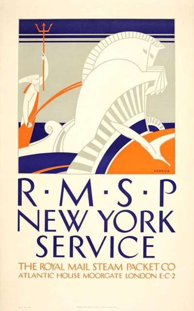 RMSP New York Service poster designed by Herrick, Frederick Charles (1887-1970)