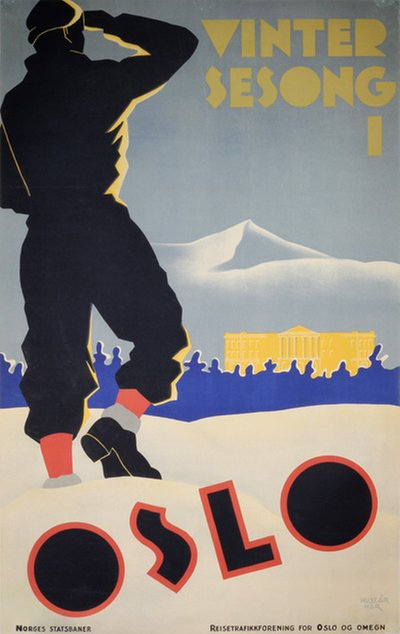 Vinter sesong i Oslo - Norway original poster designed by Huszár, Bert (1878–1935)