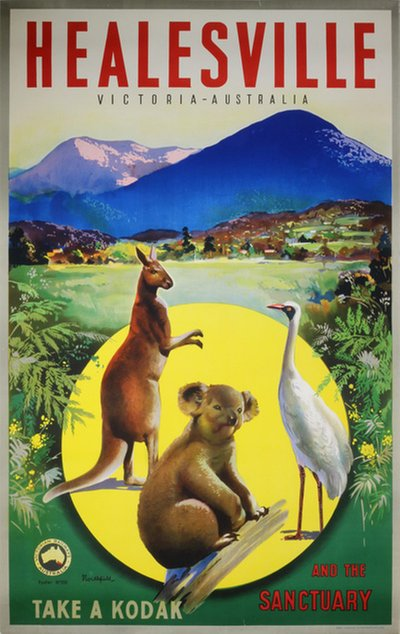 Original vintage poster: Healesville and the Sanctuary