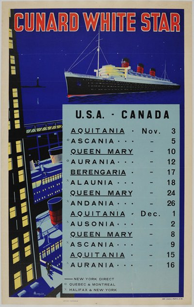 Cunard White Star - USA - Canada original poster designed by Roquin A.