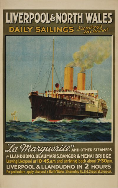 Liverpool & North Wales - La Marguerite  original poster designed by Brown, Samuel John Milton (1873-1965)