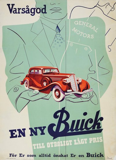 General Motors Buick 1934 Victoria Coupe poster designed by Linné, Eric (1905-1995)
