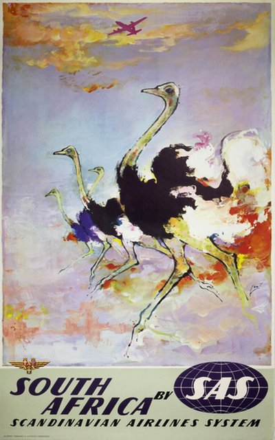 by SAS - South Africa - Ostrich poster designed by Nielsen, Otto (1916-2000)