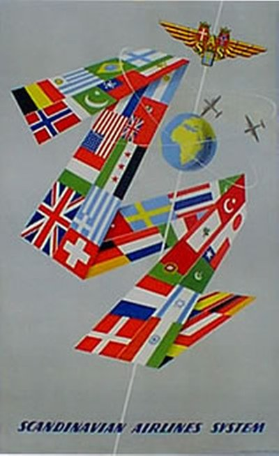 SAS - Scandinavian Airlines System poster designed by Svensson, Olle