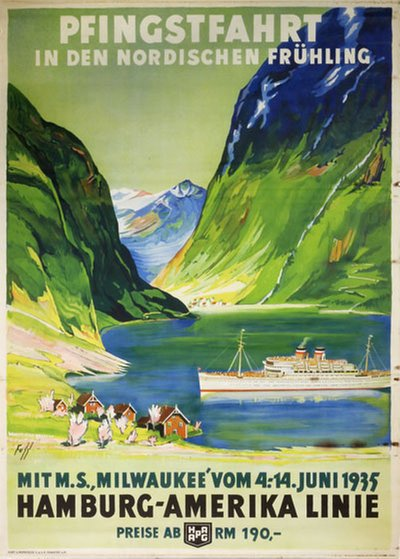 Hapag Pfingstfarhrt in Den Nordischen Frühling original poster designed by Fuss, Albert (1889-1969)