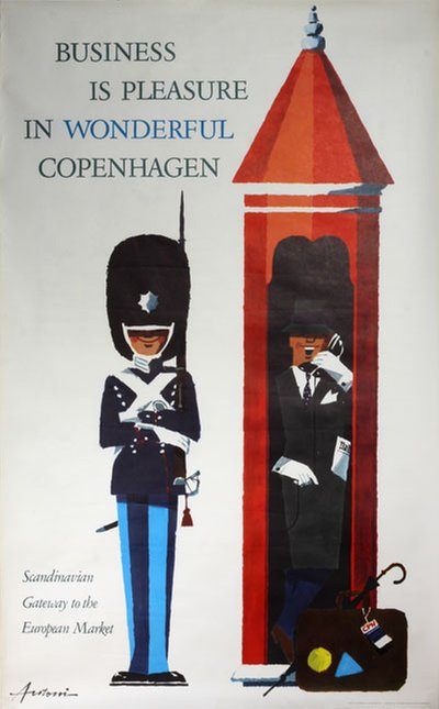 Wonderful Copenhagen Denmark poster designed by Antoni, Ib (1929-1973)
